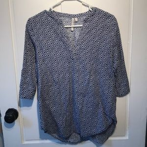 Grand & Greene Navy and White Patterned Tunic